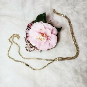 Vintage Faux Pearl Gold Chain Necklace